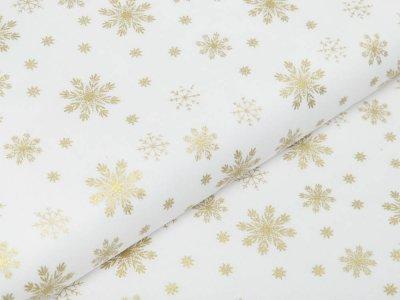 Webware Baumwolle Popeline mit Foliendruck - goldene Schneeflocken - wollweiß