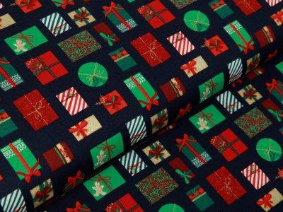 Webware Baumwolle Popeline mit Foliendruck - Weihnachtsgeschenke - marine