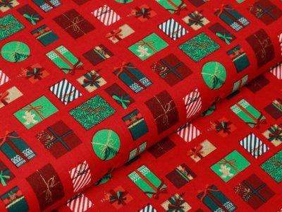 Webware Baumwolle Popeline mit Foliendruck - Weihnachtsgeschenke - rot