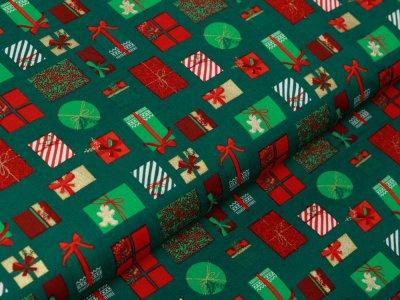 Webware Baumwolle Popeline mit Foliendruck - Weihnachtsgeschenke - moosgrün