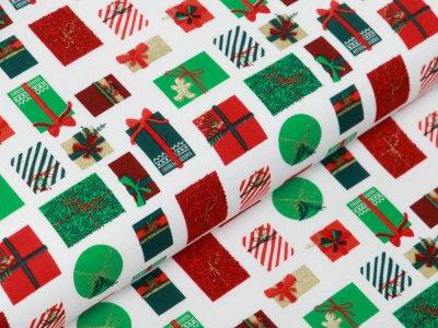 Webware Baumwolle Popeline mit Foliendruck - Weihnachtsgeschenke - wollweiß