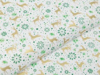 Webware Baumwolle Popeline mit Foliendruck - Eiskristalle und Rehe - wollweiß