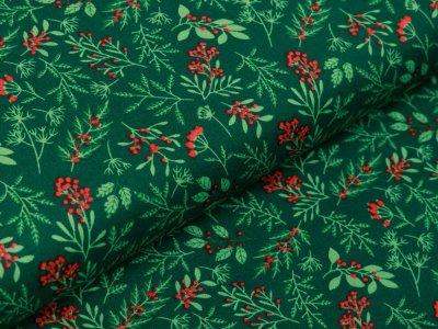 Webware Baumwolle Popeline - Winterzweige und Beeren - moosgrün