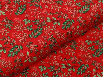 Webware Baumwolle Popeline - Winterzweige und Beeren - rot