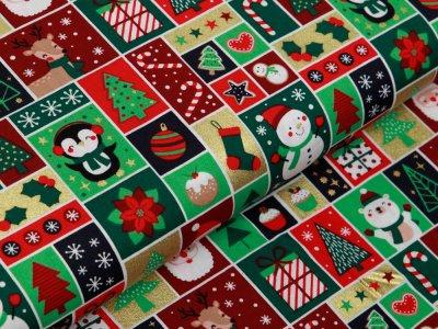 Webware Baumwolle Popeline mit Foliendruck - niedliche Weihnachtsmotive - grün