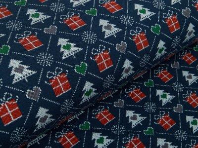 Leicht angerauter Sweat - Weihnachtsbäume und Geschenke - marine