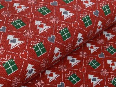 Leicht angerauter Sweat - Weihnachtsbäume und Geschenke - bordeaux