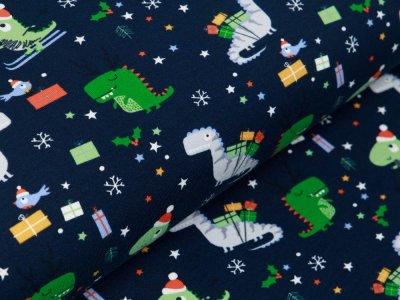 Jersey - Weihnachtliche Dinos und Schneeflocken - marine