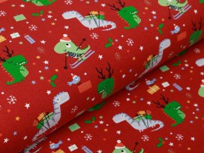 Jersey - Weihnachtliche Dinos und Schneeflocken - terrakotta