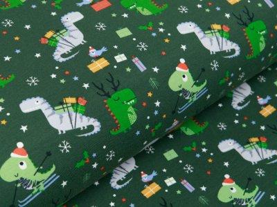 Jersey - Weihnachtliche Dinos und Schneeflocken - moosgrün
