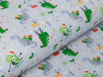 Jersey - Weihnachtliche Dinos und Schneeflocken - grau