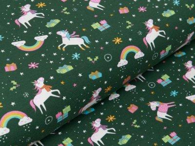Jersey - Geheimnisvolle Einhörner und Weihnachtsgeschenke - moosgrün