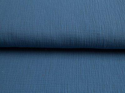 Baumwoll Musselin Double Gauze uni dunkelblau