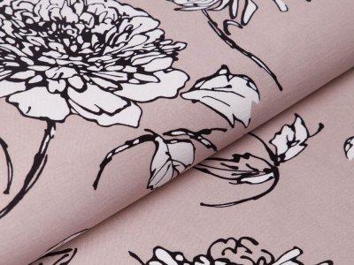 Bengaline Stretch-Stoff - Blumen - beige