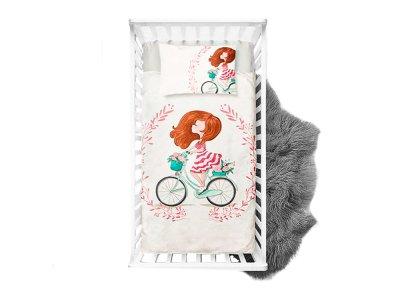 Webware Baumwolle Panel 75cm x 100cm Mädchen mit Fahrrad