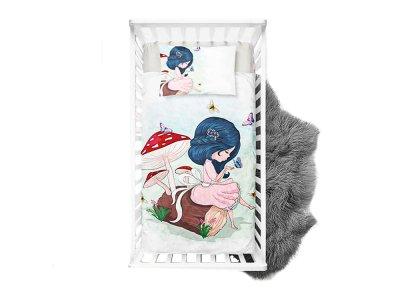 Webware Baumwolle Panel 75cm x 100cm Mädchen mit Schmetterling