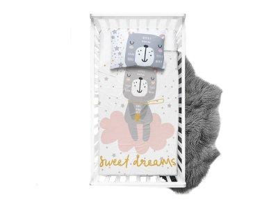 Webware Baumwolle PANEL 75 cm x 100 cm - Sweet Dreams Bär - weiß
