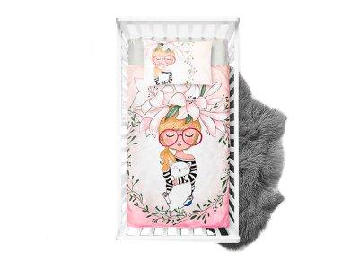 Webware Baumwolle PANEL 75 cm x 100 cm - Mädchen mit Lilien Kopfschmuck - weiß