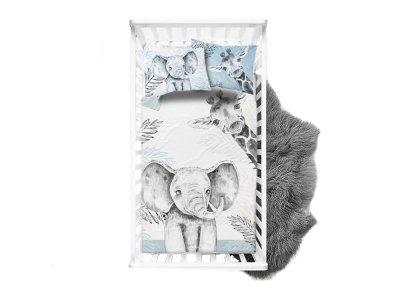 Webware Baumwolle Panel 75cm x 100cm Dschungel Baby-Elefant und Baby-Giraffe