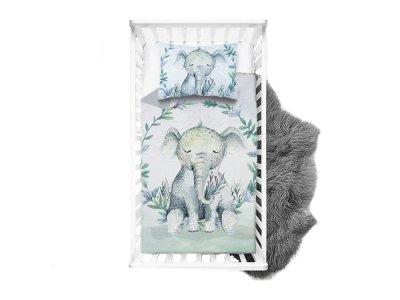 Webware Baumwolle PANEL 75 cm x 100 cm - schlafender Elefant - wollweiß