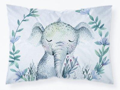 Webware Baumwolle PANEL 30 cm x 40 cm - schlafender Elefant im Blumenkranz