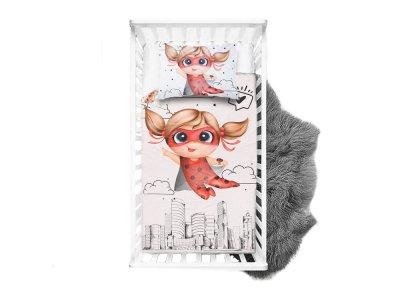 Webware Baumwolle PANEL 100 cm x 135 cm - kleine Superheldin Ladybug - weiß