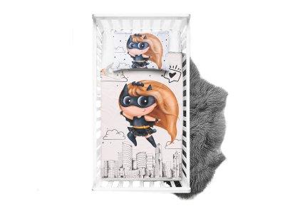 Webware Baumwolle PANEL 100 cm x 135 cm - Superheldin Cat-Mädchen - weiß