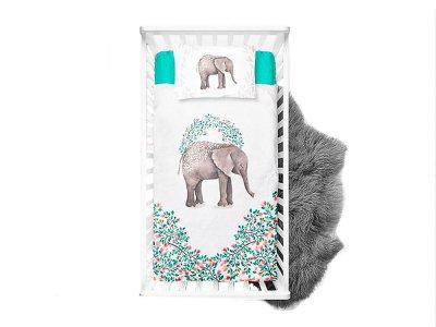Webware Baumwolle Panel 75cm x 100cm Elefant im Blumenkranz