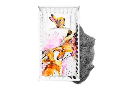 Webware Baumwolle PANEL 100 cm x 135 cm - niedliche Füchse - weiß
