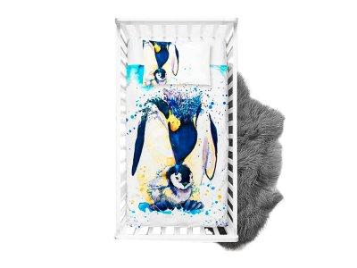 Webware Baumwolle Panel 75 cm x 100 cm Pinguinfamilie