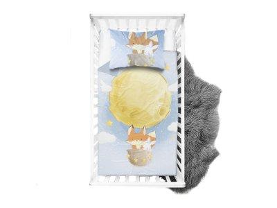 Webware Baumwolle Panel 75cm x 100cm Fuchs und Hase im Weltall - Ballonfahrt