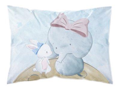 Webware Baumwolle PANEL 30 cm x 40 cm - Elefant und Hase im Weltall
