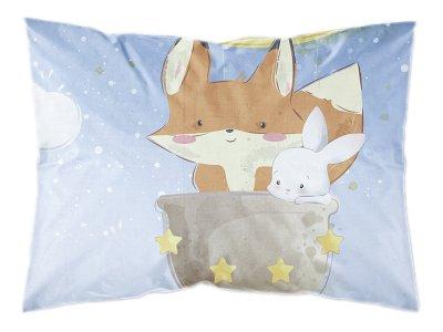 Webware Baumwolle PANEL 30 cm x 40 cm - Fuchs und Hase im Weltall