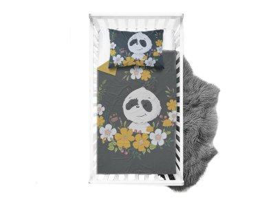Webware Baumwolle Panel 75cm x 100cm Baby-Panda im Blumenkranz