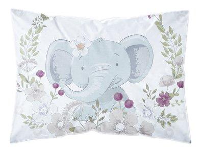 Webware Baumwolle PANEL 30 cm x 40 cm -  Elefant im Blumenkranz