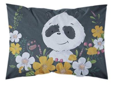 Webware Baumwolle PANEL 30 cm x 40 cm - Panda im Blumenkranz