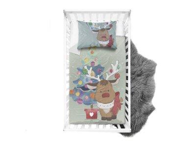 Webware Baumwolle Panel 75cm x 100cm Rentier unterm Weihnachtsbaum