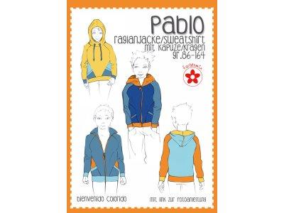 Schnittmuster Pablo - Raglanjacke Sweatshirt mit Kapuze/Kragen für Jungen