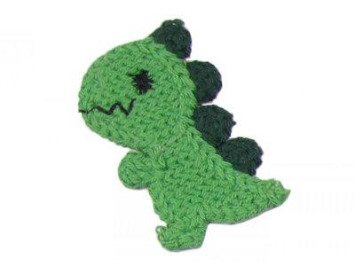 Patches Baumwolle 60 mm - Dinosaurier - grün