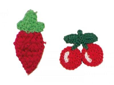Patches Baumwolle 45 mm - Erdbeere und Kirsche - rot