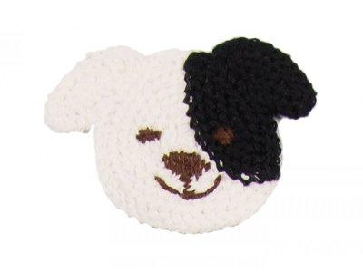 Patches Baumwolle 65 mm - Hund - weiß