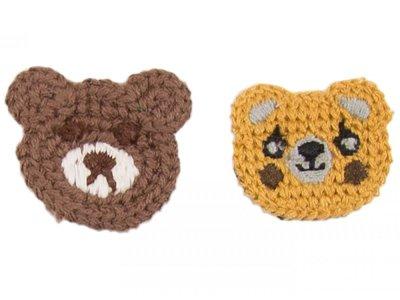 Patches Baumwolle 40 mm - Bären - braun/gelb