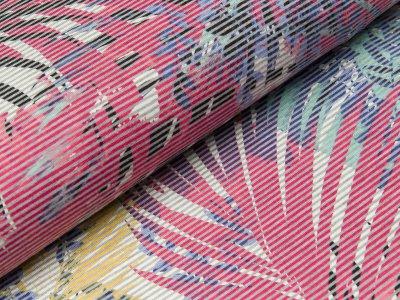 Viskose Satin Jersey - schmale Streifen auf großen Blättern - wollweiß/fuchsia