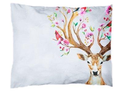 Webware Baumwolle PANEL 30 cm x 40 cm - Floraler Hirsch