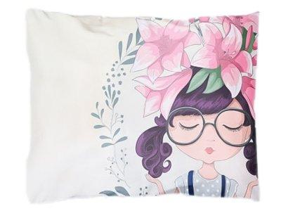 Webware Baumwolle Panel 30cm x 40cm Orchideenmädchen mit Brille