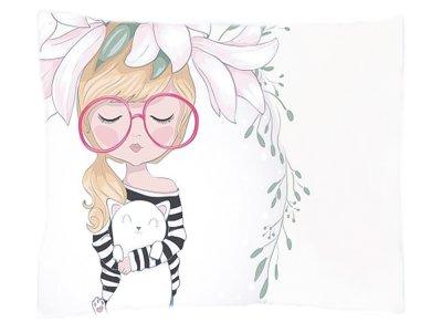 Webware Baumwolle PANEL 30 cm x 40 cm - Mädchen mit Lilien Kopfschmuck - weiß