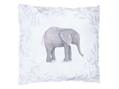 Webware Baumwolle PANEL 48 cm x 48 cm - Elefant im Blumenkranz