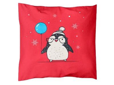Webware Baumwolle PANEL 48 cm x 48 cm - Pinguin mit Ballon - rot