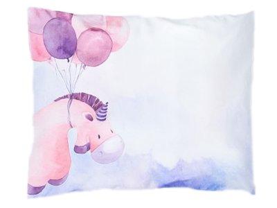 Webware Baumwolle PANEL 30 cm x 40 cm - fliegendes Einhorn Ballons