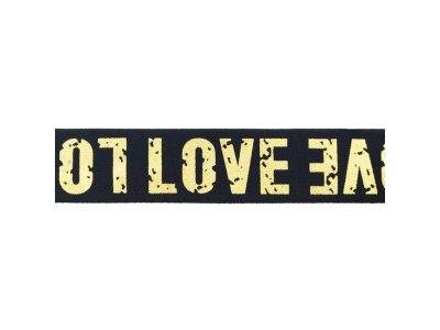 Gummiband mit Foliendruck ca. 40 mm - Love - marine/goldfarben